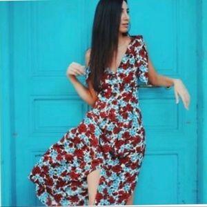 Zara Floral Button Down Dress Medium
